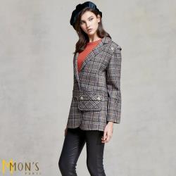 MONS 歐洲專櫃精品毛料格紋西裝外套