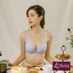 Olivia【曖昧系列-聖代冰淇淋戀人】甜到有剩!無鋼圈輕奢v綴飾裸感內衣-天藍色