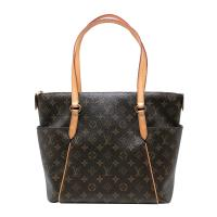 【Louis Vuitton】展示品 經典字花Totally MM 肩背購物包(M56689-咖)