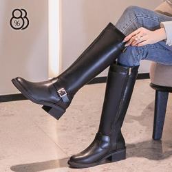 【88%】5CM皮革側拉鍊長靴 百搭側邊飾釦 筒高34CM粗跟靴