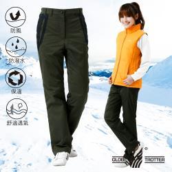 【遊遍天下】女款修身防風防潑水抗寒保暖刷毛褲/雪褲P105墨綠