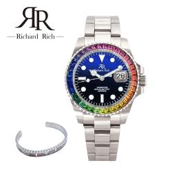 RICHARD RICH 時尚耀眼晶鑽外圈男士石英鋼帶手錶 - 彩鑽