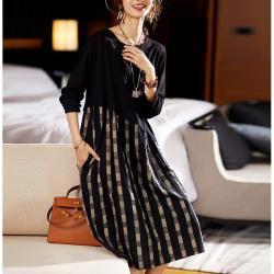 麗質達人 - 7111拼色假二件洋裝