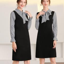 麗質達人 - 33080黑色格紋假二件洋裝