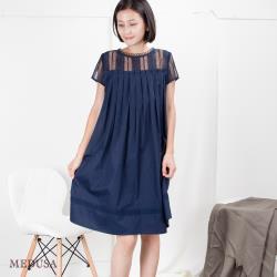 現貨【MEDUSA 曼度莎】前百褶造型純棉蕾絲洋裝