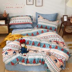 DUYAN竹漾- 台灣製100%精梳純棉雙人加大床包三件組-漫遊波蘭