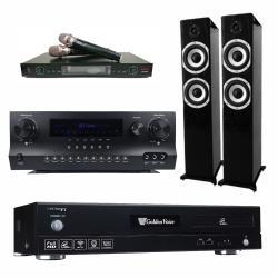 金嗓 CPX-900 F1 智慧點歌卡拉OK點歌機4TB+DW 1 擴大機+LM-750 無線麥克風+S-6601 主喇叭(黑)