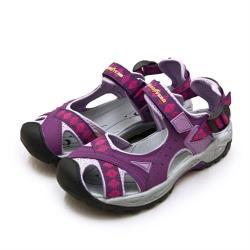 【GOODYEAR 固特異】女 排水透氣輕便水陸護趾涼鞋(紫灰桃 82707)
