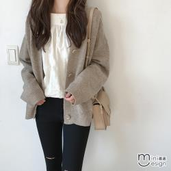 Mini嚴選-慵懶風包蕊絨毛針織外套 四色