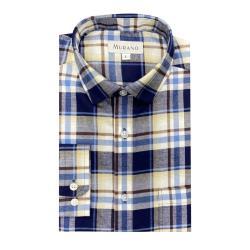 [MURANO]法蘭絨長袖襯衫-藍白格(L~XL)