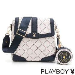 PLAYBOY-  直式翻蓋斜背包 菱格兔系列-藍色
