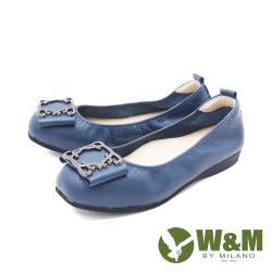 W&M(女)圓頭蝴蝶方釦 娃娃鞋 平底鞋 女鞋 -藍(另有黑)