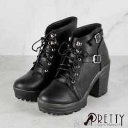 Pretty 加厚防水高台綁帶雙金屬皮釦粗高跟短靴BA-27776