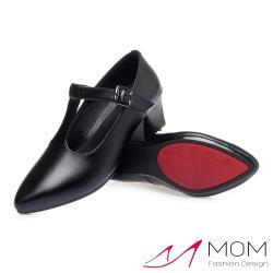 【MOM】真皮質感牛皮尖頭T字釦帶百搭粗跟鞋 黑
