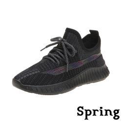 【SPRING】繽紛七彩透氣網面飛織舒適休閒運動鞋 黑