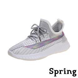 【SPRING】繽紛七彩透氣網面飛織舒適休閒運動鞋 灰