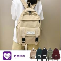 【iRurus 路絲時尚】韓系簡約大方素面字母標示大容量雙肩包 (YL0178-YH981)現貨促銷