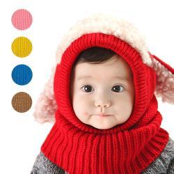 寶寶兒童保暖帽毛線帽+圍巾