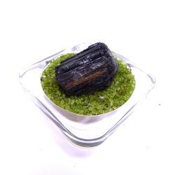 寶峻晶石館 黑碧璽原礦 BT41(附橄欖石盤)