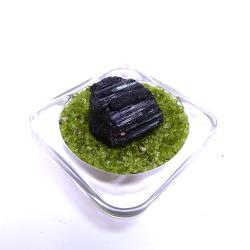 寶峻晶石館 黑碧璽原礦 BT42(附橄欖石盤)