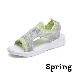 【SPRING】彈力撞色飛織舒適輕量厚底涼鞋 灰