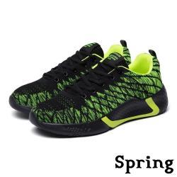 【SPRING】潮流網狀撞色設計飛織時尚休閒運動鞋 綠