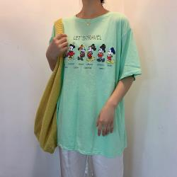 iima 韓版寬鬆卡通印花圓領T-shirt(綠)
