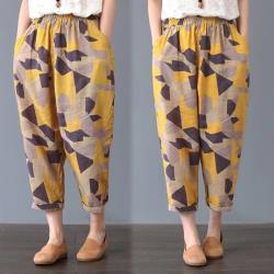 【韓國K.W.】時尚設計特色印花哈倫褲