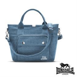【LONSDALE】英國60周年經典小獅包-單寧斜背拉鍊托特包LD1318A-牛仔淺藍