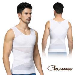 Charmen 菱形加壓彈力網紗收腹透氣背心 男性塑身衣