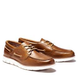 Timberland 男款棕色皮革三孔帆船鞋A1PKBF74
