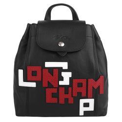 LONGCHAMP-黑白LOGO字小羊皮mini雙肩後背包(黑)