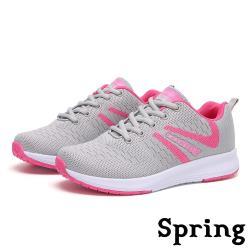 【SPRING】時尚立體編織紋透氣飛織休閒運動鞋 粉