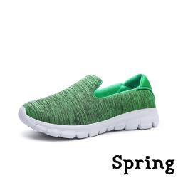 【SPRING】超輕量緩震透氣彈力織布舒適戶外健走休閒鞋 綠