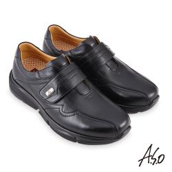 A.S.O-3D超動能魔鬼氈商務休閒鞋-黑