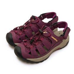 【GOODYEAR 固特異】女 排水透氣輕便水陸護趾涼鞋(酒紅棕 02622)