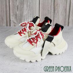 GREEN PHOENIX 國際精品皮革拼接剪裁撞色義大利小牛皮綁帶厚底老爹鞋U28-25412