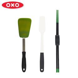 【OXO】大廚好手藝三件組(矽膠刮杓-白+料理長筷+矽膠鍋鏟)