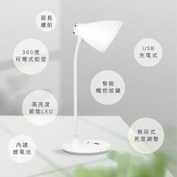KINYO USB充插兩用大廣角LED檯燈(偏黃光)(PLED-4185)