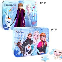 冰雪奇緣鐵盒拼圖玩具組木質拼圖100片 639538/636049【卡通小物】