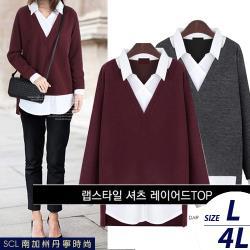 SCL  韓風拼接假兩件氣質領毛衣襯衫
