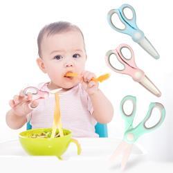 2入-寶寶陶瓷剪刀 嬰兒輔食剪刀帶剪套 家用廚用食物剪刀