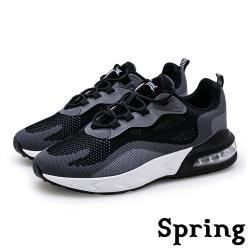 【SPRING】時尚撞色飛織反光飾條彈力氣墊個性運動鞋 黑灰