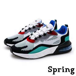 【SPRING】時尚撞色飛織反光飾條彈力氣墊個性運動鞋 白藍
