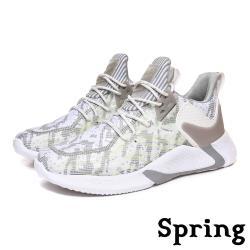 【SPRING】個性流線夜光拼接透氣飛織造型個性運動鞋 白灰