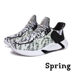 【SPRING】個性流線夜光拼接透氣飛織造型個性運動鞋 白黑