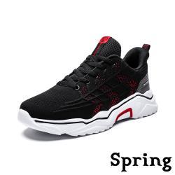 【SPRING】時尚立體葉紋飛織個性厚底休閒運動鞋 黑紅