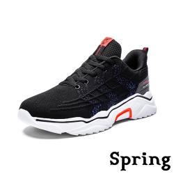 【SPRING】時尚立體葉紋飛織個性厚底休閒運動鞋 黑橘