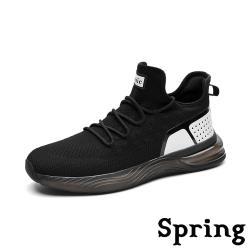 【SPRING】復古時尚撞色拼接超大氣墊透氣彈力飛織運動鞋 黑白