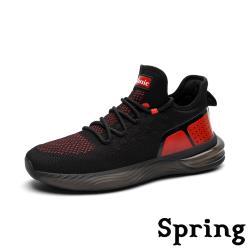 【SPRING】復古時尚撞色拼接超大氣墊透氣彈力飛織運動鞋 黑紅
